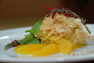 Bienenstich mit Orangencreme, gluten- und milchfrei
